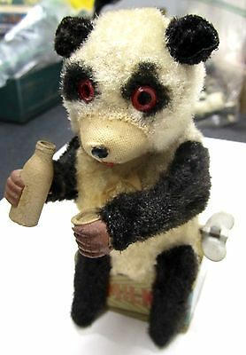 Vintage Tin Wind Up Panda Drinking Milk Bottle Glass Circa 1950's Scarce 6 Inch