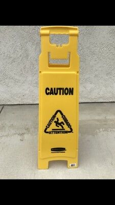Rubbermaid Caution Wet Floor Sign, 4 Sided