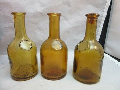 3x Vtg miniature jug shape glass bottles. Amber, Yellow