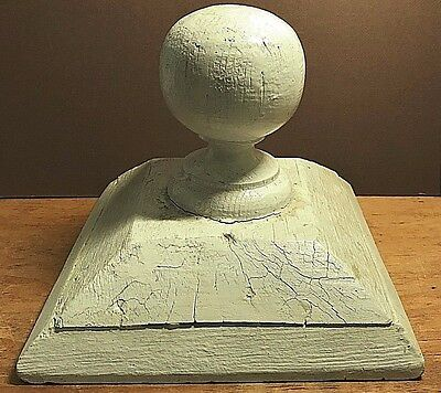 Antique Architectural Salvage Wooden White Post Ball Finial