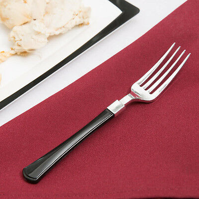 "60  Heavy Weight Plastic Forks 7"" Silver With Black Handle Free Shipping Us"