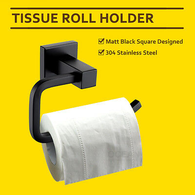 Matt Black Square Tissue Toilet Paper Roll Holder Rack Ring Hook Bracket Rail