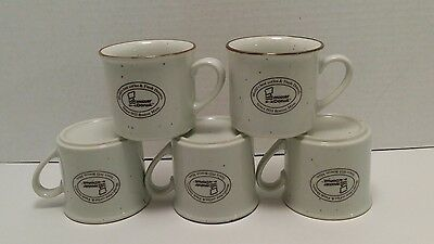 5 Mister Donut Advertising Stoneware Coffee Mugs Cups Excellent Condition