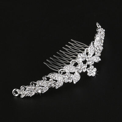 Princess Wedding Bridal Tiara Rhinestone Flower Hair Comb Clip Headband Silver