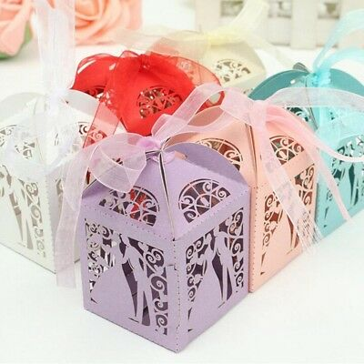 10PCS Bride and Groom Wedding Favor Box Laser Cut Candy Box Party Wedding Favors