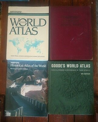 4 vintage world atlases Goode's Atlas Hammond Historical universal citation
