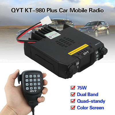KT-980 Plus Dual Band Quad-standy Car Walkie Talkie Output+Speaker Microphone