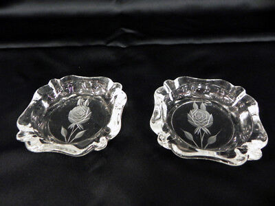LOT OF 2 VINTAGE GLASS DECORATIVE ASHTRAYS with ETCHED ROSES ART DECO