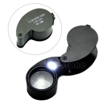 New 40x 25mm Glass Magnifying Magnifier Jeweler Eye Jewelry Loupe Loop Led Light