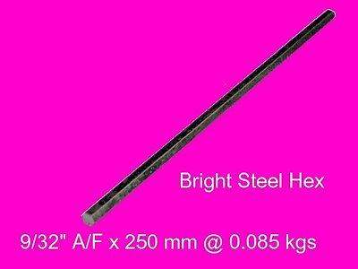 "Steel Hex 9/32"" A/F x 250 mm-Lengths-Lathe-Mill-Steam-OG"