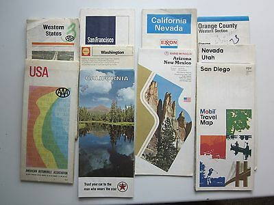 Lot of 10 1967-1980 Shell-Texaco-AAA-Mobil Vtg Maps USA/SoWest/California/Wash.
