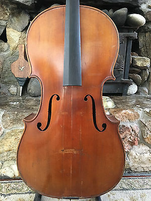 Old Cello Labeled For Repair, German or French