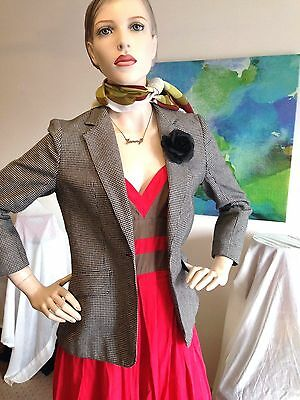KATIES by bobbie brooks Fab Lined Vintage Blazer/Jacket, Sz 8-10, +Flower Brooch