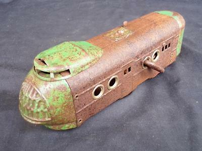 c1930's Wind Up Clock Work Locomotive Train w/ Bell Scarce Tin Toy Working Order