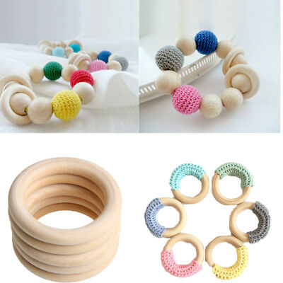 New 5pcs 70mm Baby Wooden Teething Rings Necklace Bracelet DIY Crafts Natural