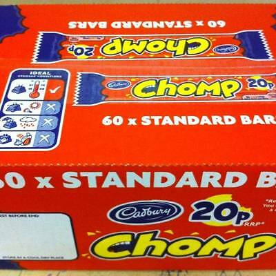 BOX OF 60 x 21.5g BARS OF CADBURY'S CHOMP FAMOUS CARAMEL AND CHOCOLATE SNACK! UK