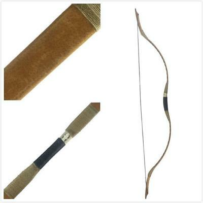 25-45# Traditional Handmade Archery Hunting Longbow Brown Pigskin Recurve Bow