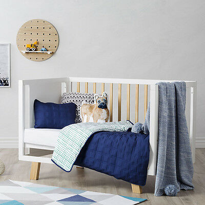 Adairs Kids Kenji Quilted Blue/Green Cot Quilt Cover Set BNIB - RRP $129.95