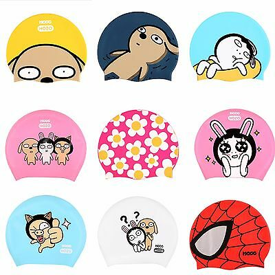 Swim Cap Character Swimming Hats Mens Womens Adult Silicone Long Hair/Spandex