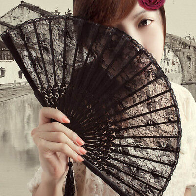 Black Spanish Style Dance Party Wedding Princess Lace Silk Folding Hand Held Fan