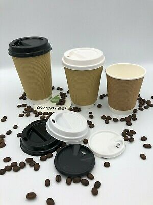 x100 KRAFT RIPPLE TRIPLE WALLED PAPER CUPS 12oz FOR HOT DRINKS WITH LIDS