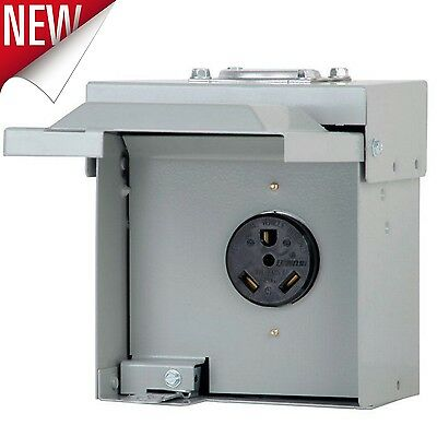 Power Outlet Panel Box RV Motor Unmetered Receptacle 30 Amp 120/240V Electrical