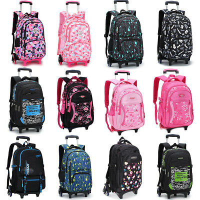Children Removable Trolley Girl Boy Backpack School Bag Climb Stair with Wheels