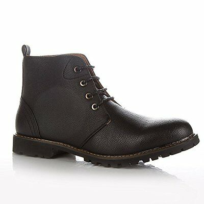 Mens Black / Brown Leather Smart Formal Casual Lace Up Boots Shoes UK SIZE 7- 11