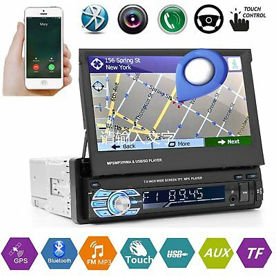 "7"" 1 Din Car Stereo Radio GPS Navigation Touch Bluetooth MP3 Player FM USB AUX"