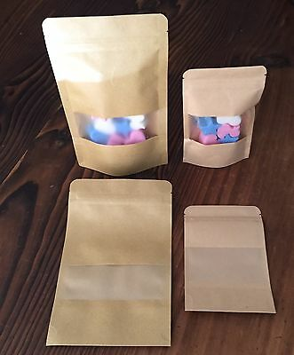"~Paper Stand Up ""pouch Bags""~Craft/gift/food Packaging (Clear Window + Ziplock)~"