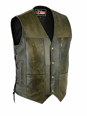 Mens Motorcycle 10 Pocket Distressed Brown Leather Vest Side Laces