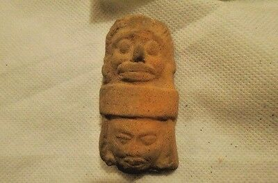 Authentic Ancient Mayan Artifact Double Head  Figure Pre-Columbian