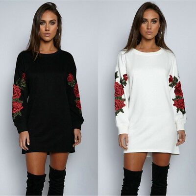 Womens Loose Floral Embroidered T Shirt Long Sleeve Oversized Tops Blouse Dress