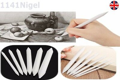 6pcs Pastel & Charcoal Blender Paper Stumps Tortillon Sketch Drawing White