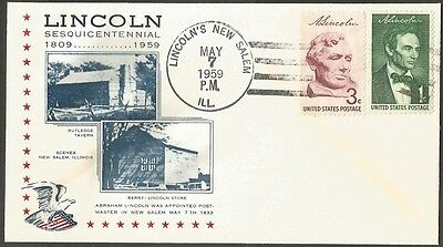 Us Cover 1959 Lincoln 1&3C Stamps Appointed Postmaster In New Salem Sesq Cover