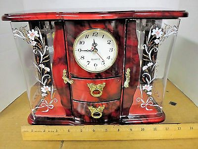 Beautiful Vintage Musical Red 2 Door 2 Drawer Jewelry Box And Working Clock Gold