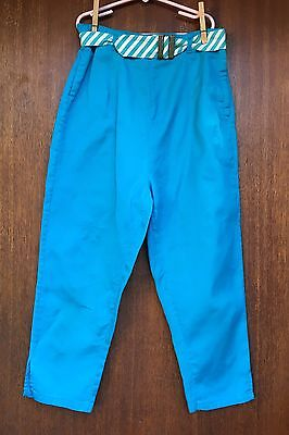 Vintage 1950s Turquoise Cotton Capris Pants Girls 16