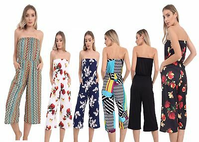Ladies Cullote Off Shoulder Bardoot Printed Playsuit Womens Strappy Jumpsuit