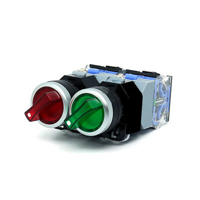 1PCS LED 22MM Rotary Switch 2 Positions Changeover Illuminated