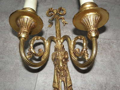 antique WALL SCONCE BRONZE old SCULPTURES LUXURIOUS French Gilt Cast lights Pair