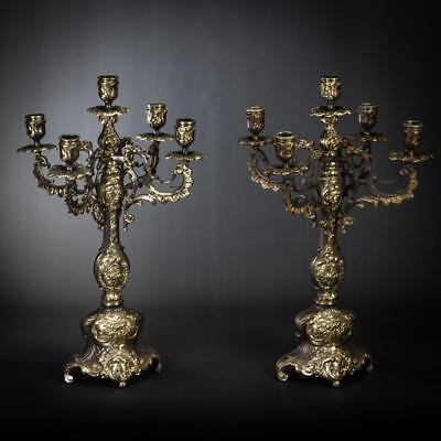 "17"" Pair of Antique Bronze Candelabras 5 Tier 2 Baroque Vintage Candle Holders _"