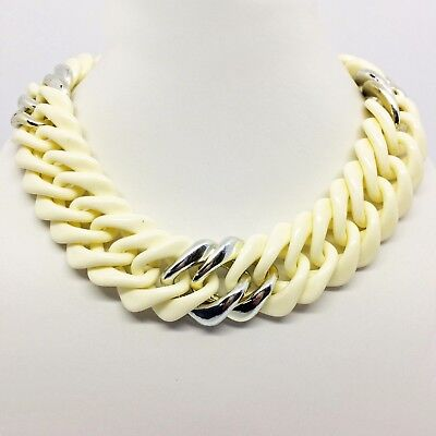 Vintage 1980's Cream Plastic Curb Chain Necklace Chunky, Statement
