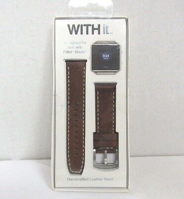 WITHit - Leather Watch Strap for Fitbit Blaze - Brown T-FBL-009-76-WB-01