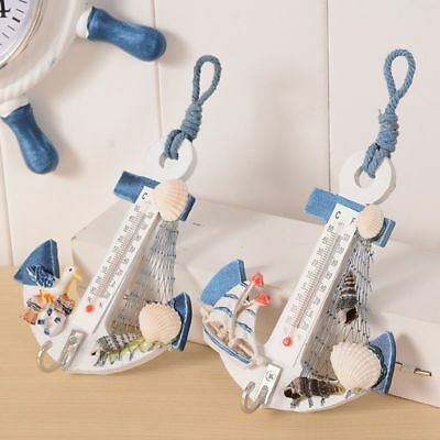 Wood Door Boat Anchor Shaped Hook Conch Thermometer Hanger Home Decor Nautical