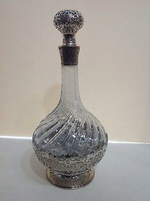 Tiffany cut crystal and silverplated decanter. Signed on base. 19th century.