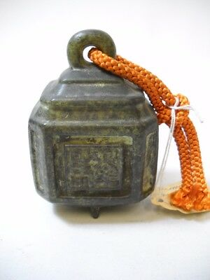 "PASSPORT BELL from Japan ANTIQUE with ORANGE SILK CORD ""I THINK"" Inscribed"
