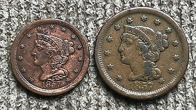 1857 Large Cent and Half Cent - VF to EF details