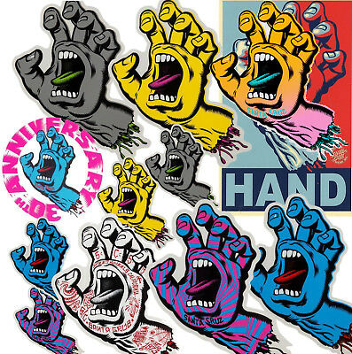 SANTA CRUZ Screaming Hand Sticker / Skateboard Snowboard Surf - Assorted Styles