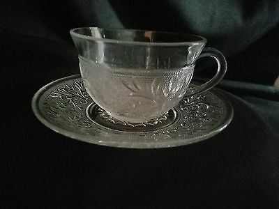 Anchor Hocking Crystal Sandwich Glass Coffee Cups And Saucers Set Of 3