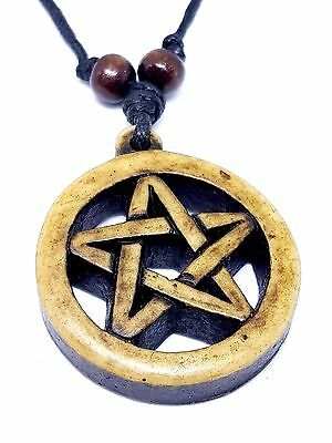 Pentacle Necklace Adjustable Cord Wooden Beads Pagan Wiccan Pendant
